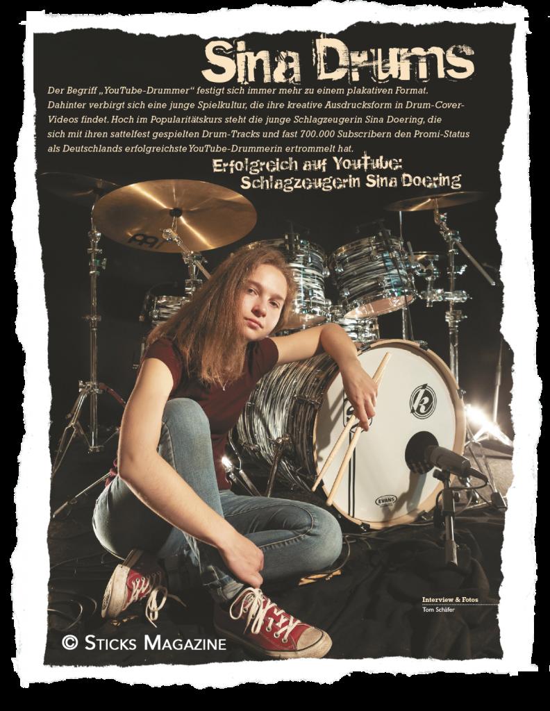 Interview Sticks Magazine September 2019 – Sina-Drums!